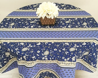 """60"""" Round Tablecloth, French Tablecloth, Coated Tablecloth, Blue Castellane"""
