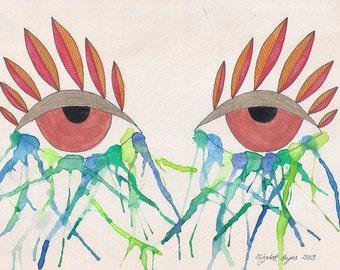 Crying eyes wall art, crying wall art, eye wall art, crying eyes art, crying art, eye art, watercolor drawing. watercolor painting, original