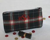 Personalized Womens Gift, Monogram Clutch Purse, Personalized cosmetic bag, Personalized gift for her, Personalized Bridesmaid Gift - Plaid