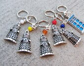 Doctor Who - Non-Snag Dalek Stitch Markers with TARDIS