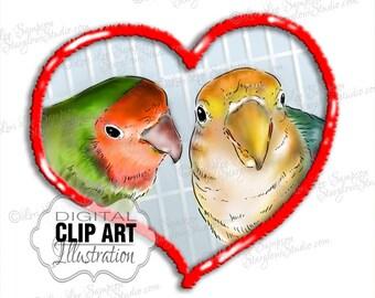 Lovebirds | Bird Clipart | Nature Clip Art | Digital Download | Scrapbooking | Card Making | Paper Crafts | Birds Heart