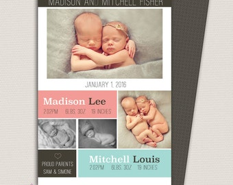 Twin Birth Announcement/Girl and Boy Twin Announcement/Photo Twin Birth Announcement/Birth Announcement and Background/Print yourself design