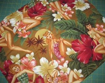 Alexander Henry - Island Girls on brown - Pin ups - cotton fabric - 1999