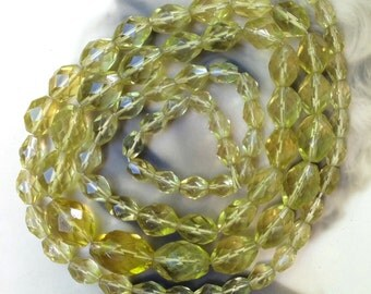 AS IS Antique Glass Bead Necklace Yellow Graduated Long Strand
