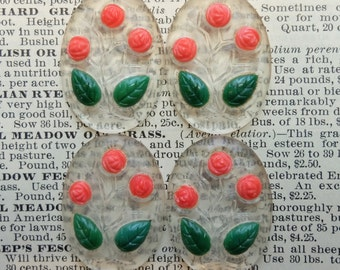4 Vintage Glass Cabochons Flower Faceted Edge