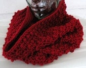 Red Maroon Cranberry Textured Cowl Hood