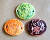 3 Handmade Ceramic Beads - Sweet Set of Bracelet Beads - Folk Art Owl Beads