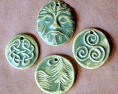 4 Handmade Ceramic Celtic Pendant Beads in Olive Green - Celtic Knot Greenman Triskele and Moonlit Forest Beads