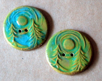 2 Extra Large Forest Buttons in Light Green over Brown Stoneware