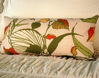 Rhodesia Modern Cushion / minimalist bedding / modern fall leaves pillow / green and orange pillow / bench lumbar pillow / modern tropical