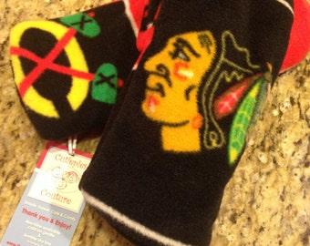 Custom fleece Chicago Blackhawks Black Hawks hockey fleece mittens all sizes toddler - adult