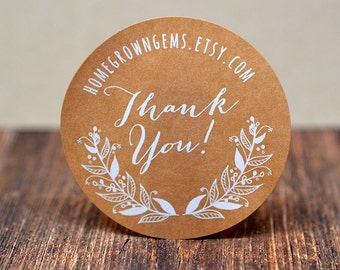 Thank You Stickers - White Print on Kraft Brown - Flower Floral Wreath Thank You Design