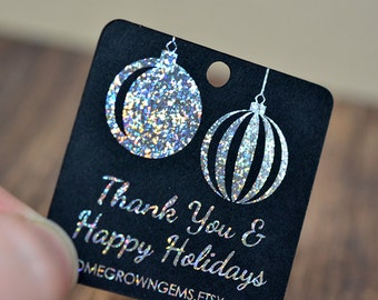 Glitter Metallic Silver Ornaments Christmas Winter Thank You Tags  - Customized - Gift Tags - Shinny Metallic