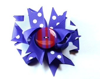 Boutique Hair Bow Clip Purple Red White Bow