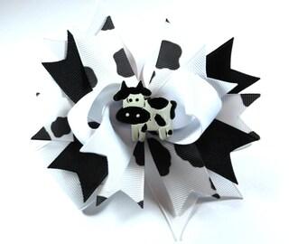Boutique Black White Cow Hair Bow Clip Hair Bow