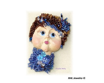 Face Jewelry Lady Face Brooch  Bead Embroidery Pin Blue Brooch Face Jewelry Blue Pin