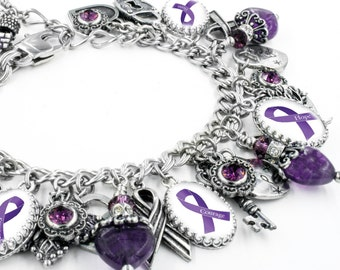 Lupus Bracelet, Fibromyalgia Jewelry, Epilepsy Bracelet, Alzheimers Bracelet, Purple Ribbon, Awareness Jewelry