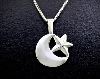 Celestial Moon Necklace, sterling silver