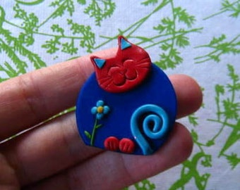 Fimo Polymer Clay Blue and red Cat with flower Brooch Pin or Magnet