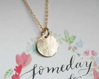 Hammered 14k Gold Filled CIRCLE Necklace/Card Gift Set