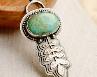 Turquoise Necklace, Nature Inspired Silver Pendant, Layered Silver, Boho Style Silver and Stone Necklace, Hand Fabricated