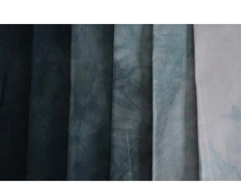 BLACK to Gray Shades - hand dyed Fabric - 6 pc Fat Quarter Gradation Bundle - Tuscan Rose BK610