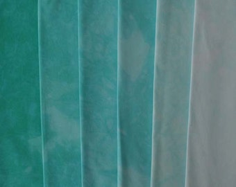 clear BLUE GREEN Shades - hand dyed Fabric - 6 pc Fat Quarter Gradation Bundle - Tuscan Rose CBGR731