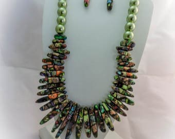 Multi Color Sea Sediment Necklace and Earrings Set