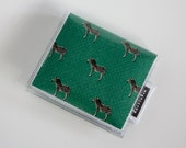 Handmade Vinyl Moo Square Card Holder - Joy / case, vinyl, snap, wallet, paper, mini card case, moo case, square, zebras, green, animal