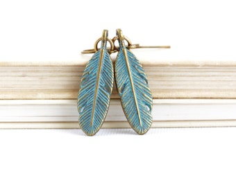 Woodland Earrings - Feather Earrings - Patina Boho Earrings - Rustic Earrings - Feather Jewelry - Dangle Earrings