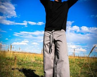 Pacha Play Mens Pants- Light Grey Straight Leg- Mens' Clothing- Festival- Stretch- Ninja- Burner- Dance- urban jedi