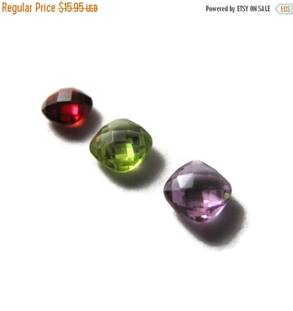 Labor Day SALE - Three NON DRILLED Gemstones, Peridot, Garnet and Amethyst Stones for Making Jewelry & Setting, 6x4mm Gemstone (Luxe-Nd2c)