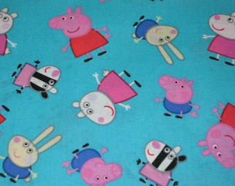 Nickelodeon, Peppa Pig,  Peppa and Friends on blue Cotton fabric, 1/2 Yard