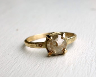 Handmade 14k Yellow Gold Rose Cut Diamond Ring
