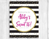 Custom Printable Birthday Welcome Sign, Black and White Stripes, Hot Pink and Gold Glitter Polka Dots, Birthday Girl's Name, Any Size