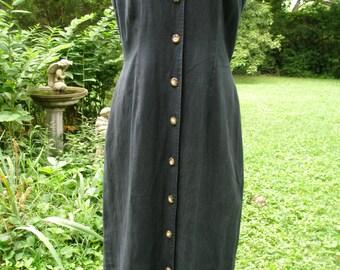 Linen Dress Charcoal Black Sleeveless Button Front dress