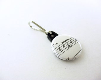 Vintage Sheet Music, Zipper Pull, Zipper Charm, Black and White; Music Notes, One of a Kind