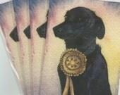 4 x noir labrador retriever chien cartes de voeux bon chien champion gagnant rosette ruban or tiré de Susan Alison Art aquarelle peinture
