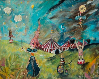 Circus Tents, Ring Master, Acrobats, Strong Man, Bear Tricks, Black Cat, Tight Rope Walker- Fine Art Print by Heather Renaux-unframed