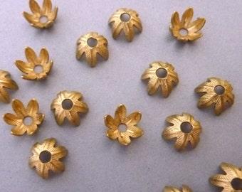 6 Bead Caps - Ornate Leaves - Brass 8 mm