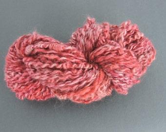 Handspun Art Yarn Coils Kid Mohair Red Dusty Rose 16-1-40