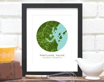 Portland Maine Map, Portland Area Map, Personalized Portland Map Gift, Maine Map Art, Portland Maine Landscape - Art Print