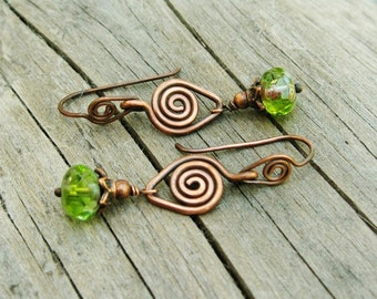 Copper Swirls with Czech Picasso glass rondelle drops dangle earrings - margarita drops