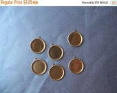 20% off sale Brass 15mm Round Cameo Settings Fancy Rope Border 6 Pcs