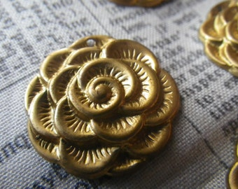 Gorgeous Vintage Brass Rose or Peony Pendants 20mm Four Pieces