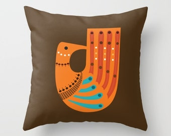 Mid Century Illustrated Bird No. 4 Throw Pillow