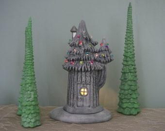 Fairy Garden House - Ceramic Faerie House - Lighted Fairy House- Winter Fairy House - Fairy Village House - Girls Room Decor