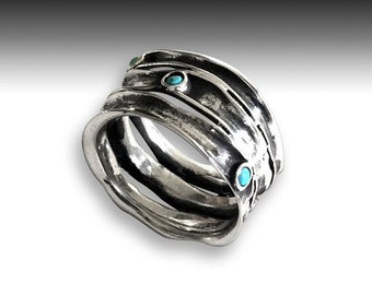 Silver ring, multi stones ring, turquoises band, wide silver ring, turquoise ring, oxidized band, stacking bands - Rolling stones. R1020S