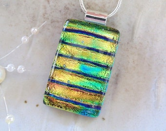 Gold Necklace, Green, Aqua, Dichroic Glass Pendant, Fused Jewelry, Necklace Included, A6