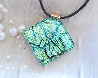 Green Necklace, Black, LARGE, Dichroic Glass Pendant, Necklace, Fused Jewelry, Necklace Included, A3